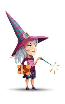 Een mooie heks met een lange hoed en met een boek en een toverstaf in haar hand. het meisje kleedde zich als heks voor halloween.