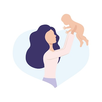 Een mooie jonge moeder houdt een pasgeboren baby in haar armen. een klein kind in de armen van de moeder. zwangerschap, familie en moederschap. platte vectorillustratie. ansichtkaart van een kinderwinkel.