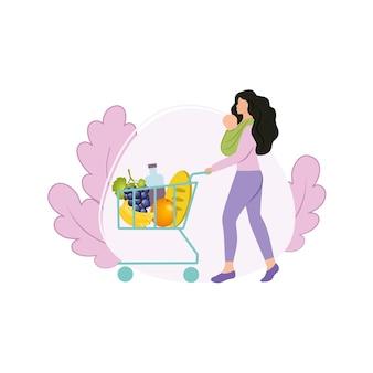 Een mooie moeder met een pasgeboren baby in een draagdoek in haar armen ging naar de winkel om te winkelen met een mand met producten. boodschappen doen bij een supermarkt. fruit en eten. platte vectorillustraties.