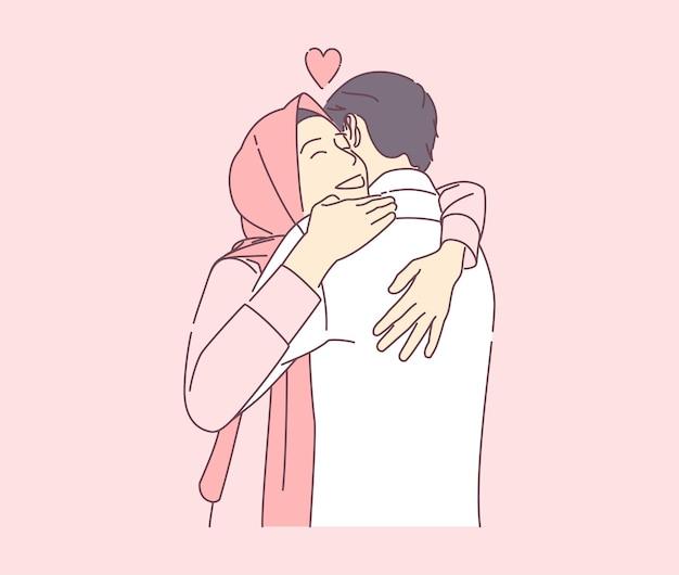 Een mooie moslimvrouw knuffelen een man met een gelukkige glimlach hand getrokken illustratie