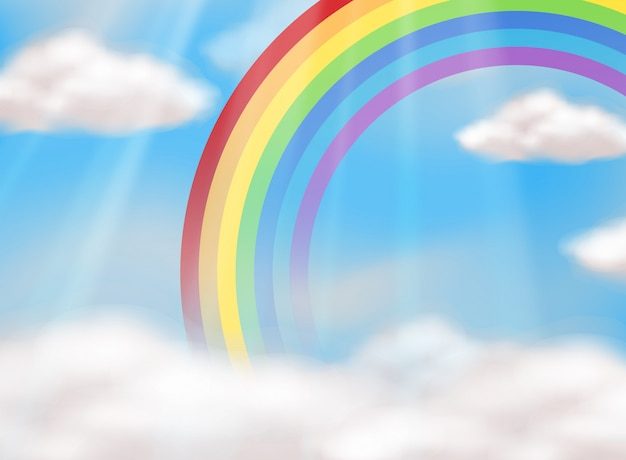 Een mooie regenboog in lucht