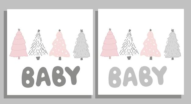 Een mooie set ansichtkaarten gemaakt van schattige dennenbomen en belettering baby