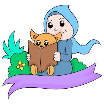 Een mooie vrouw die een moslimhijab draagt die leert om een berenwelp te lezen, vectorillustratieart. doodle pictogram afbeelding kawaii.