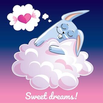 Een mooie wenskaart met een handgetekend konijn dat op de wolk slaapt en een voorbeeldtekst zoete dromen, illustratie