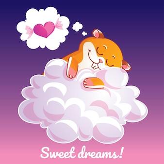 Een mooie wenskaart met een handgetekende hamster die op de wolk slaapt en een voorbeeldtekst zoete dromen, illustratie