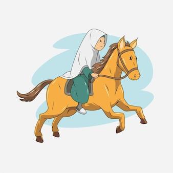 Een moslim die een paard berijdt illustratie