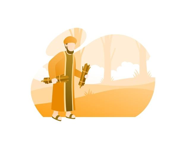 Een moslim gaat brandhout zoeken
