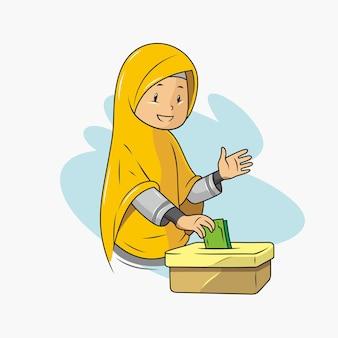 Een moslim geeft liefdadigheidsillustratie