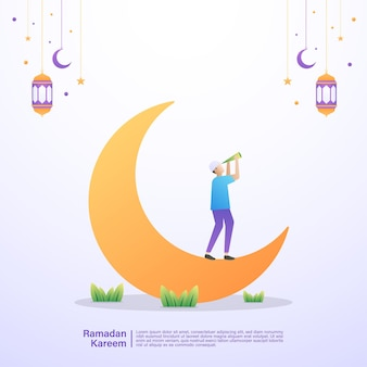 Een moslim kijkt naar de maan, wachtend op iftar-tijd. illustratie concept van ramadan kareem