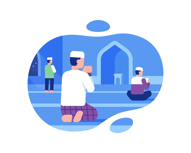 Een moslim man bidt in de moskee illustratie