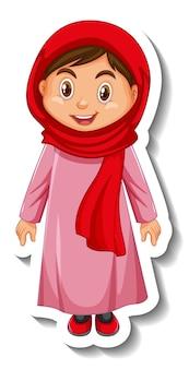 Een moslim meisje stripfiguur sticker op witte achtergrond