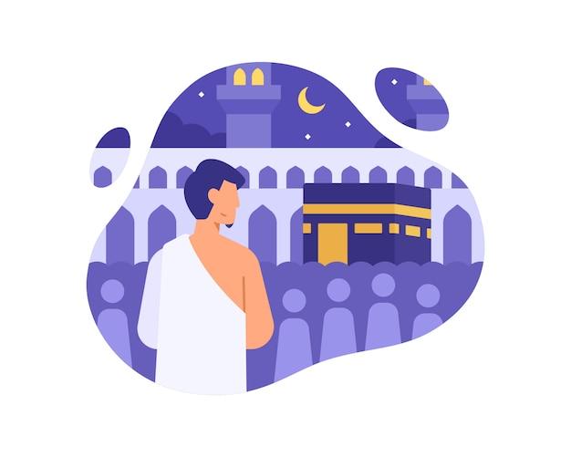 Een moslim voert hadj uit in mekka illustratie