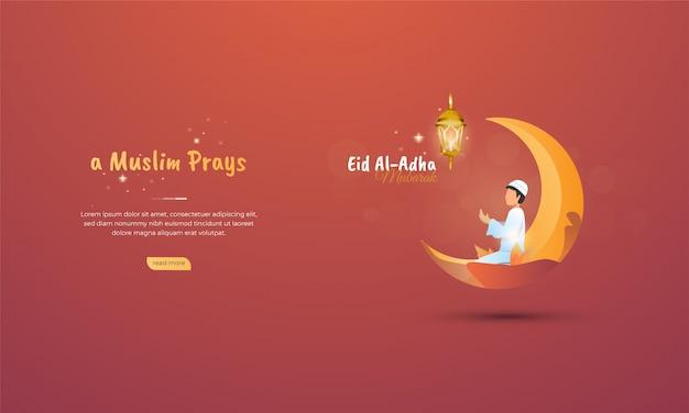 Een moslimgebedillustratie voor eid al adha-concept