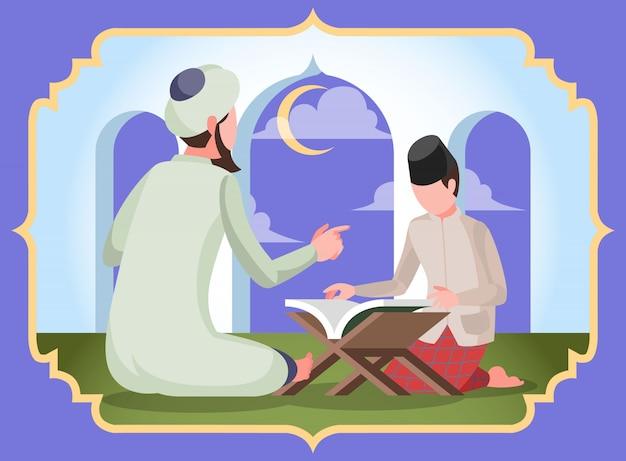 Een moslimjongen die koran leert met ulama bij de moskee tijdens de ramadan