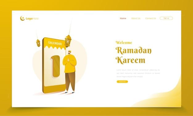 Een moslimkarakter met het begroetingsconcept van de ramadan-kalender op de bestemmingspagina