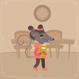 Een muis op school