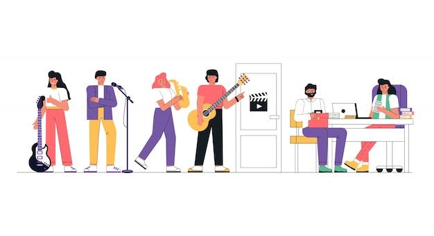 Een muziekgroep of creatieve mensen casten voor een baan.