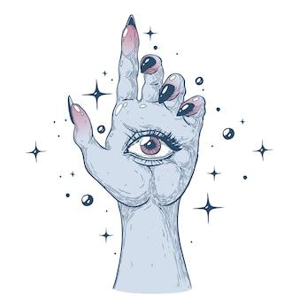 Een mystieke hand met een oog lijntekeningen handbeschilderd met inkt en pen