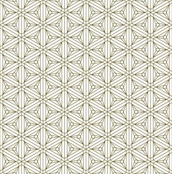 Een naadloos patroon gebaseerd op elementen van het traditionele japanse ambacht kumiko zaiku. fijne lijnen van bruine kleur.