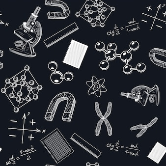 Een naadloos patroon met een microscoop en chromosomen.