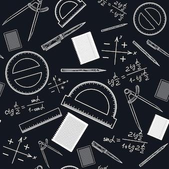 Een naadloos patroon met schoolmateriaal