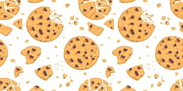 Een naadloos patroon van koekjes en chocoladekruimels.