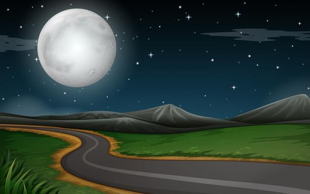 Een nachtscène van de natuurweg