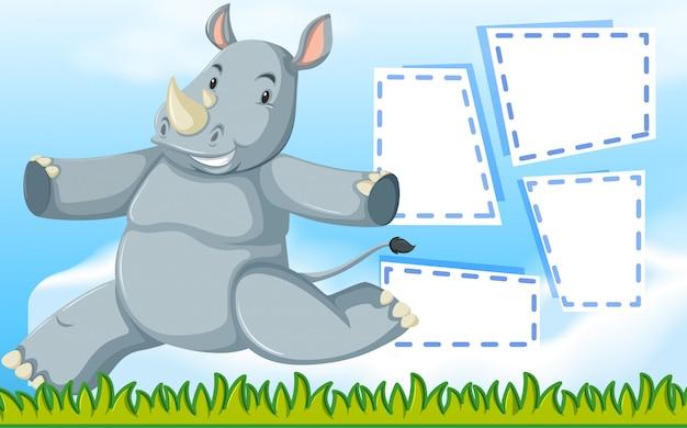 Een neushoorn op notitie sjabloon