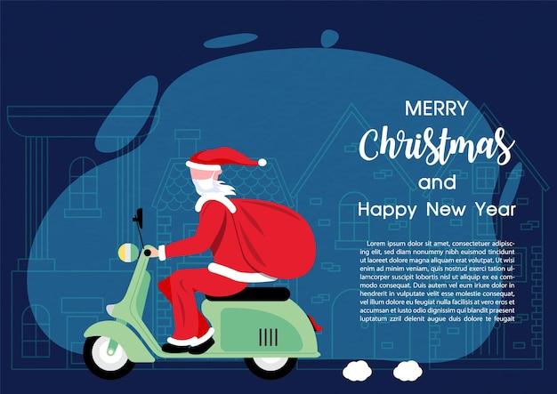 Een new age-kerstman rijdt op een motorfiets om geschenken te bezorgen met kerstteksten en voorbeeldteksten op een marineblauwe en europese stadsachtergrond.