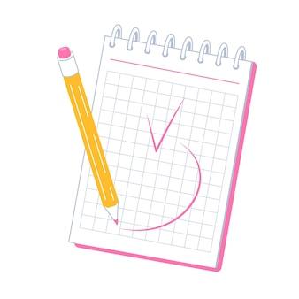 Een notitieblok om aantekeningen te maken het potlood om een notitie te schrijven markeer klaar