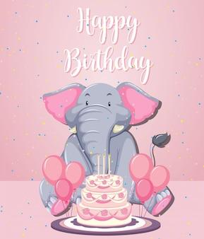 Een olifant op verjaardagssjabloon