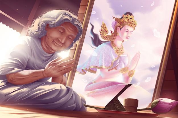 Een oma heeft beoefent dharma met groot geloof in de tempel