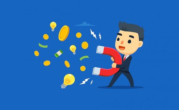Een ondernemer trekt geld en ideeën aan met behulp van magneten. vector illustratie
