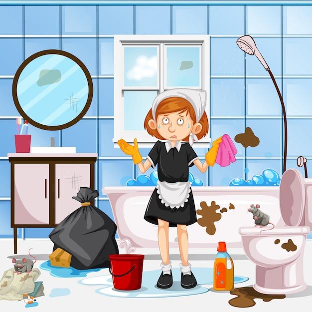 Een ongerust maid cleaning toilet