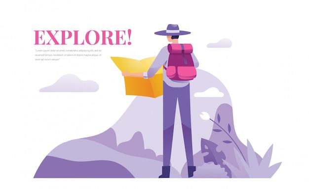 Een ontdekkingsreiziger en avonturier staan buiten en houden een kaart vast