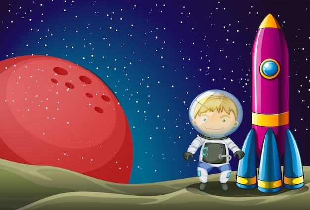 Een ontdekkingsreiziger naast de raket in de buitenruimte
