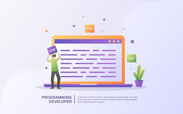Een ontwikkelaar maakt een web