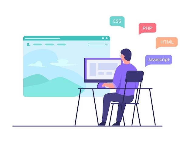 Een ontwikkelaar zit in een stoel die op een computer werkt en maakt een websitetoepassing met behulp van programmeertaal met platte cartoonstijl.