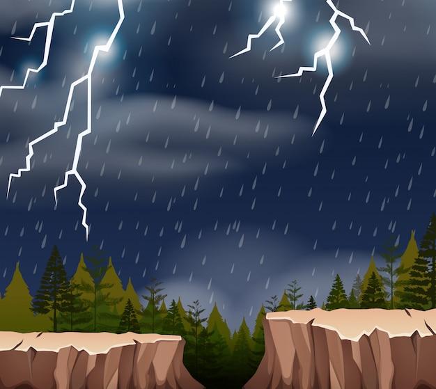 Een onweersbui nachtscène