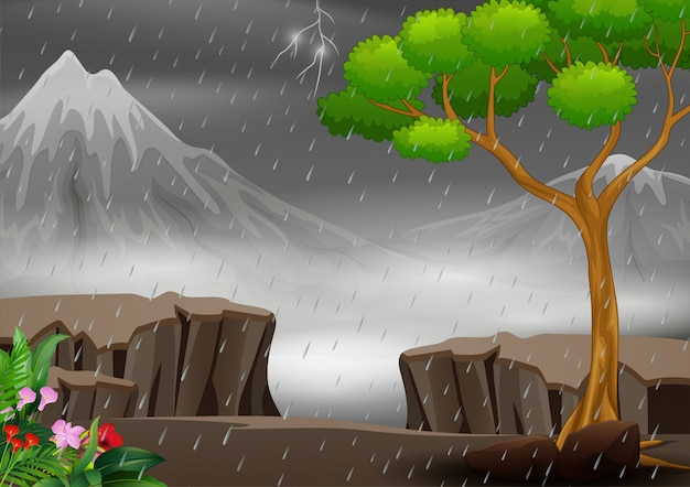 Een onweersbui op de achtergrond van het aardlandschap