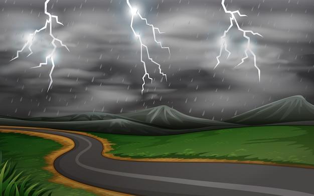 Een onweersbui wegscène