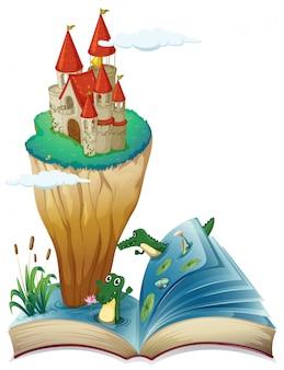 Een open boek met een afbeelding van een kasteel op een eiland