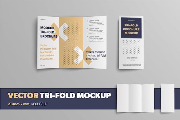 Een open en gesloten zakelijke driebladige sjabloon met een abstract patroon voor ontwerppresentatie