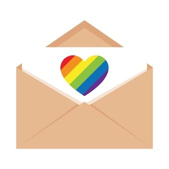 Een open envelop met een brief met een hart in de kleuren van de lgbtq-vlag. vlakke afbeelding