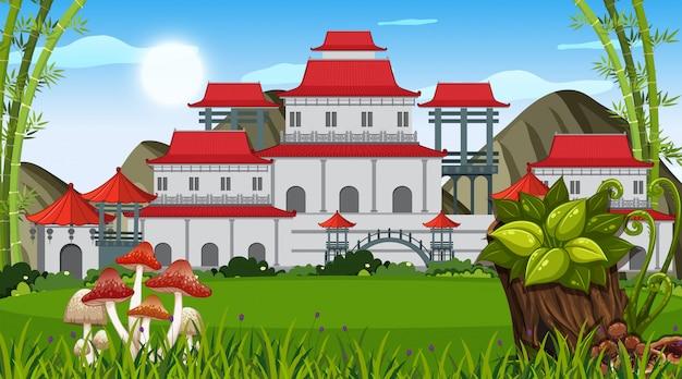 Een openluchtscène met aziatisch gebouw