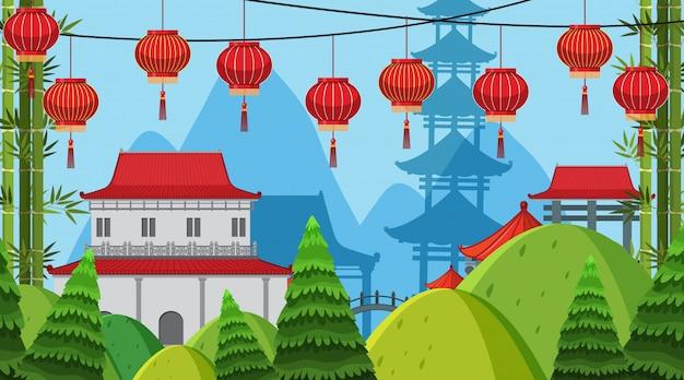 Een openluchtscène met aziatisch kasteel