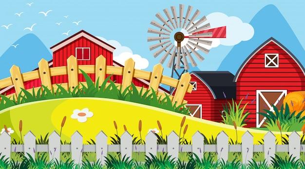 Een openluchtscène met boerderij