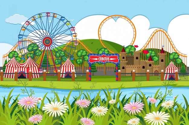 Een openluchtscène met circus