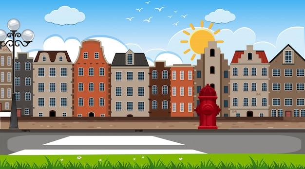 Een openluchtscène met het huis van amsterdam