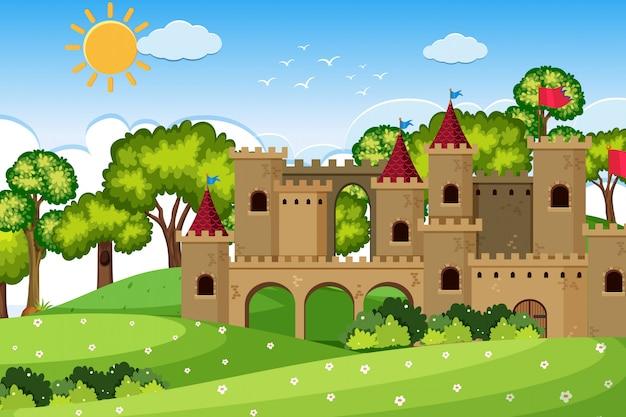 Een openluchtscène met kasteel